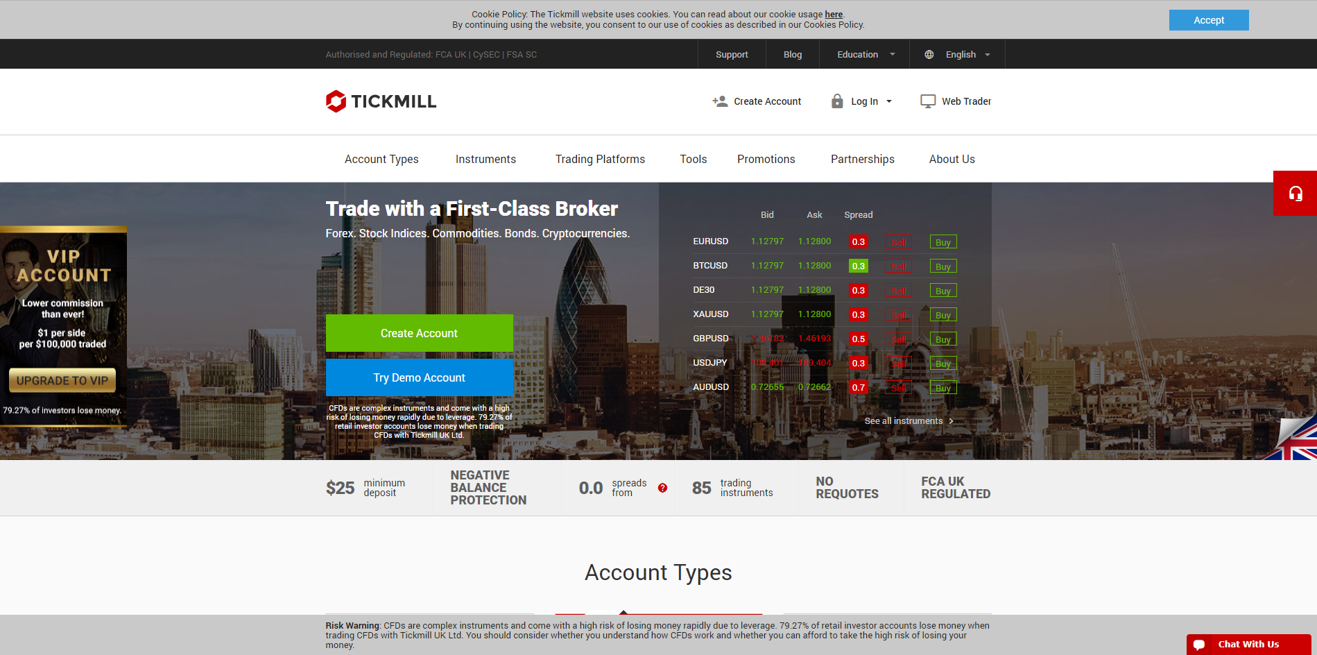 Tickmill Forex and CFD market